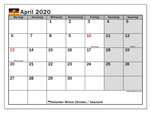 Kalender April 2020, mit den Feiertagen des Saarlandes. Kalender mit Feiertagen zum kostenlosen ausdrucken.