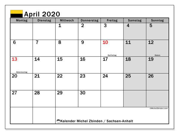 Kalender April 2020, mit den Feiertagen in Sachsen-Anhalt. Kalender Feiertage frei zum ausdrucken.