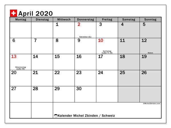 Kalender April 2020, mit den Feiertagen der  Schweiz. Kalender Feiertage frei zum ausdrucken.