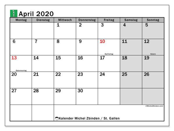 Kalender April 2020, mit den Feiertagen des Kantons St. Gallen. Kalender mit Feiertagen zum kostenlosen ausdrucken.