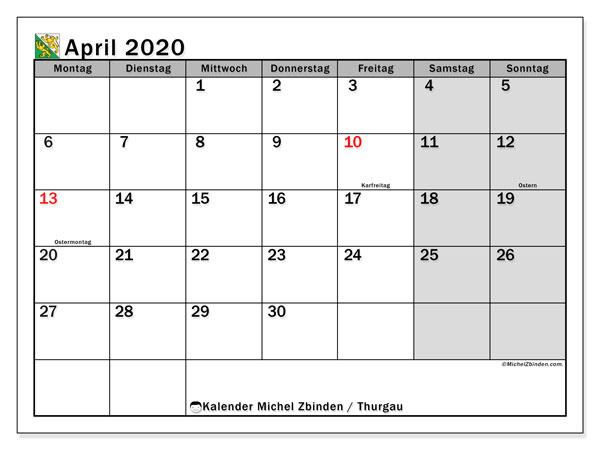 Kalender April 2020, mit den Feiertagen des Kantons Thurgau. Kalender mit Feiertagen zum kostenlosen ausdrucken.