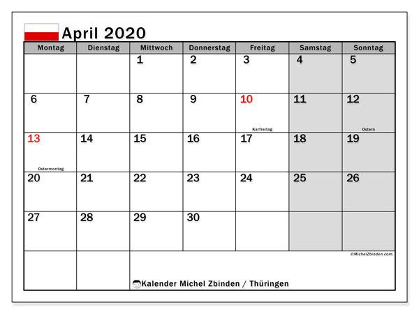 Kalender April 2020, mit den Feiertagen in Thüringen. Kalender mit Feiertagen zum kostenlosen ausdrucken.