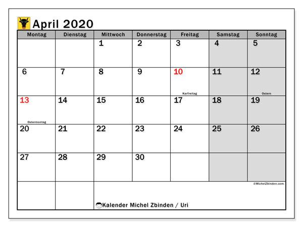 Kalender April 2020, mit den Feiertagen des Kantons Uri. Kalender mit Feiertagen zum kostenlosen ausdrucken.