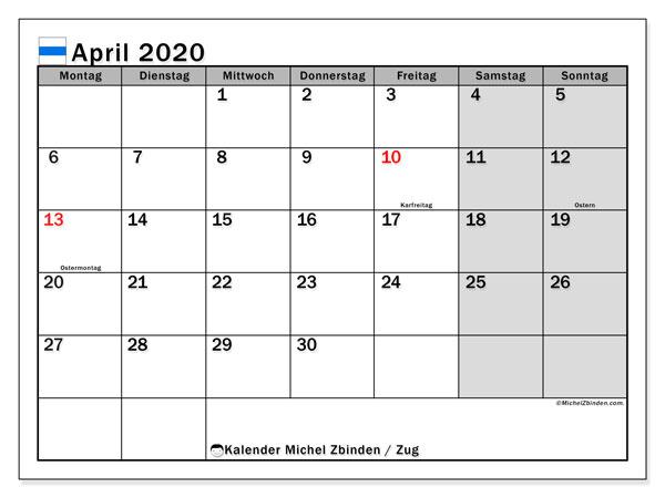 Kalender April 2020, mit den Feiertagen des Kantons Zug. Kalender Feiertage frei zum ausdrucken.