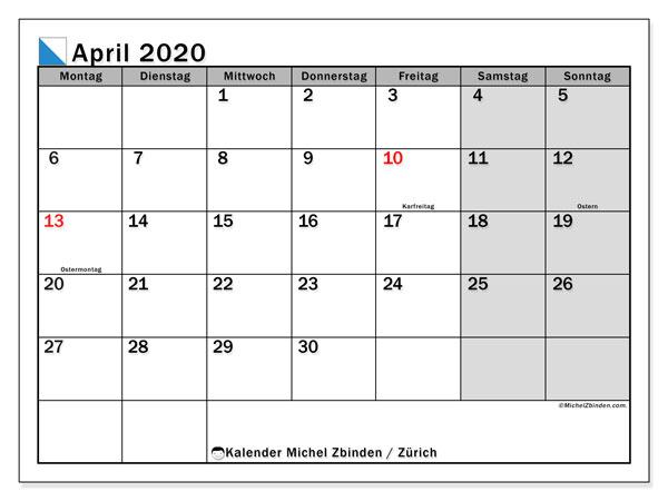 Kalender April 2020, mit den Feiertagen des Kantons Zürich. Kalender Feiertage frei zum ausdrucken.