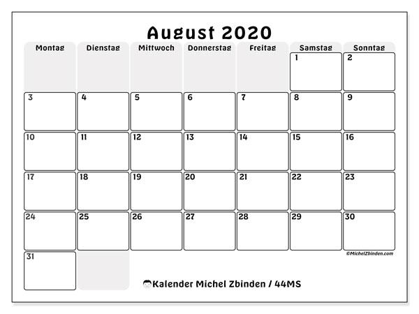 Kalender August 2020, 44MS. Monatlicher Kalender zum kostenlosen ausdrucken.