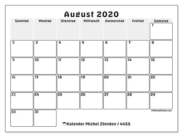 Kalender August 2020, 44SS. Monatskalender zum kostenlosen ausdrucken.