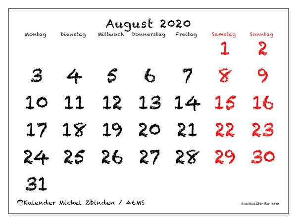 Kalender August 2020, 46MS. Kostenloser Kalender zum ausdrucken.