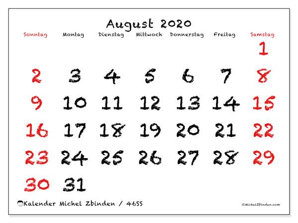 Kalender August 2020, 46SS. Kostenloser Zeitplan zum ausdrucken.