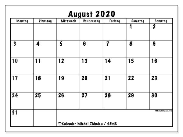 Kalender August 2020, 48MS. Kalender zum kostenlosen ausdrucken.