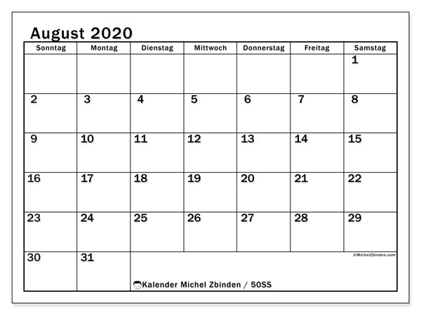 Kalender August 2020, 50SS. Kalender für den Monat zum kostenlosen ausdrucken.
