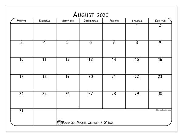 Kalender August 2020, 51MS. Kostenloser Zeitplan zum ausdrucken.