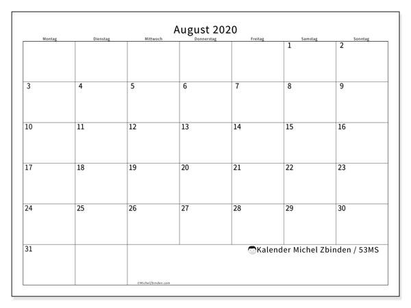 Kalender August 2020, 53MS. Kostenloser Zeitplan zum ausdrucken.