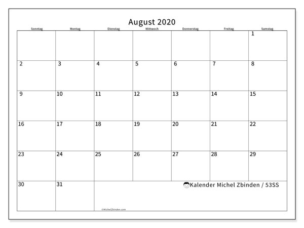 Kalender August 2020, 53SS. Kostenloser Zeitplan zum ausdrucken.