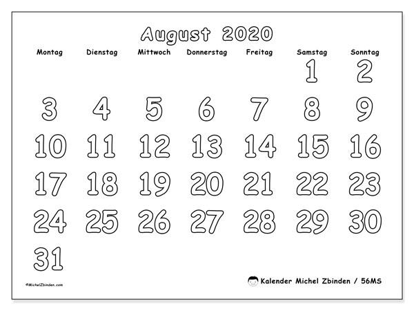 Kalender August 2020, 56MS. Monatskalender zum kostenlosen ausdrucken.