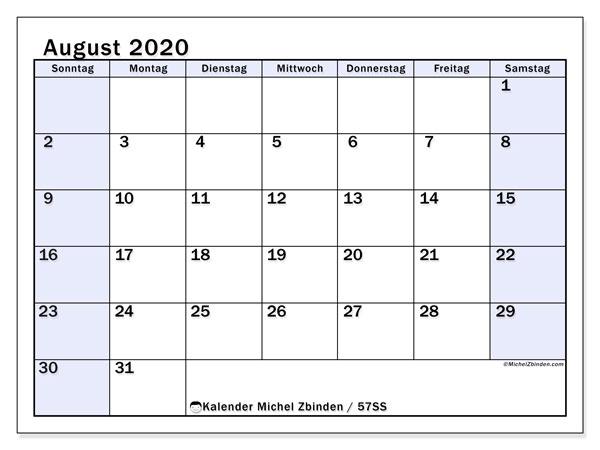 Kalender August 2020, 57SS. Kostenloser Kalender zum ausdrucken.