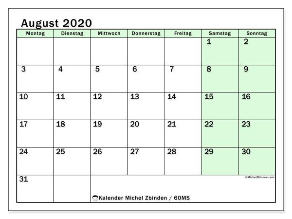 Kalender August 2020, 60MS. Kostenloser Kalender zum ausdrucken.