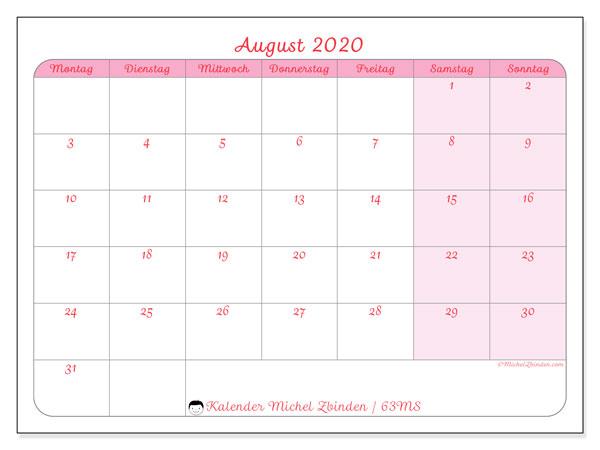 Kalender August 2020, 63MS. Zeitplan zum kostenlosen ausdrucken.