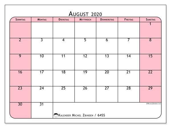 Kalender August 2020, 64SS. Kostenlos ausdruckbare Zeitplan.