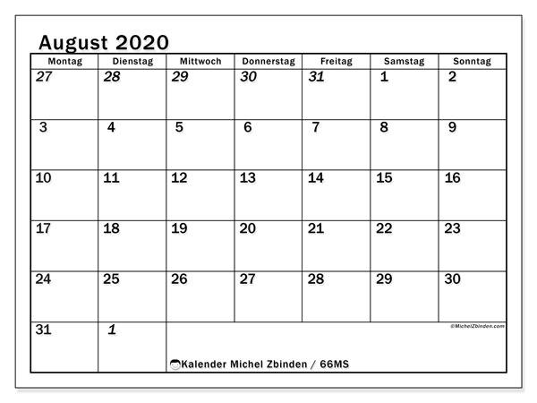 Kalender August 2020, 66MS. Monatskalender zum kostenlosen ausdrucken.