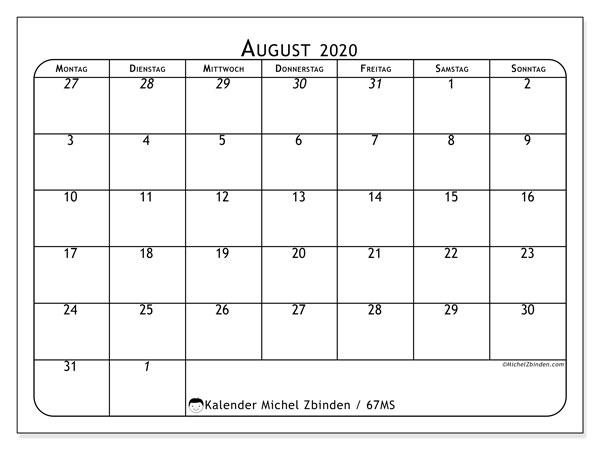 Kalender August 2020, 67MS. Monatlicher Zeitplan zum kostenlosen ausdrucken.