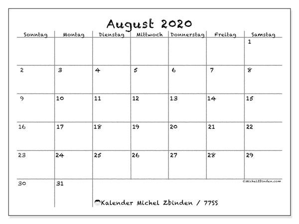 Kalender August 2020, 77SS. Zeitplan zum kostenlosen ausdrucken.