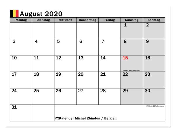 Kalender August 2020, mit den Feiertagen von Belgien. Kalender mit Feiertagen zum kostenlosen ausdrucken.