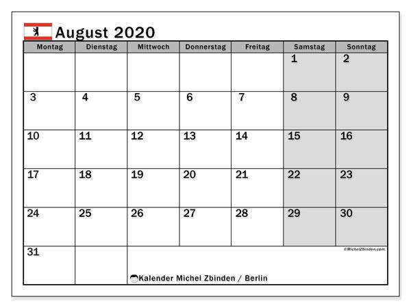 Kalender August 2020, mit den Feiertagen in Berlin. Kalender mit Feiertagen zum kostenlosen ausdrucken.