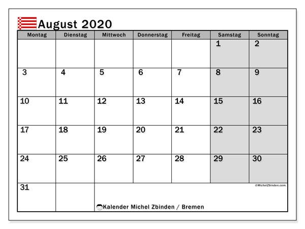 Kalender August 2020, mit den Feiertagen in Bremen. Kalender mit Feiertagen zum kostenlosen ausdrucken.