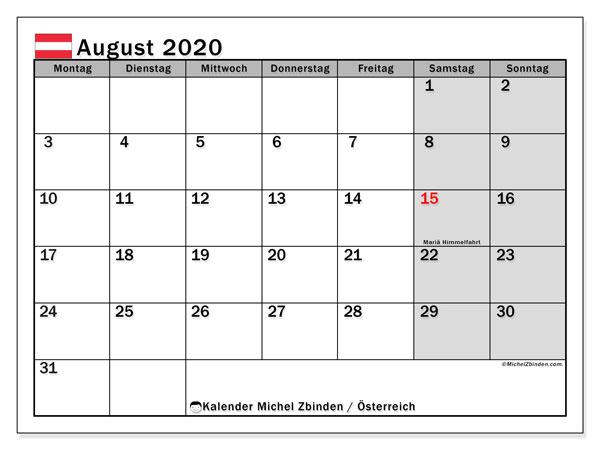 Kalender für August 2020, mit Feiertagen in Österreich. Kalender zum kostenlosen ausdrucken.
