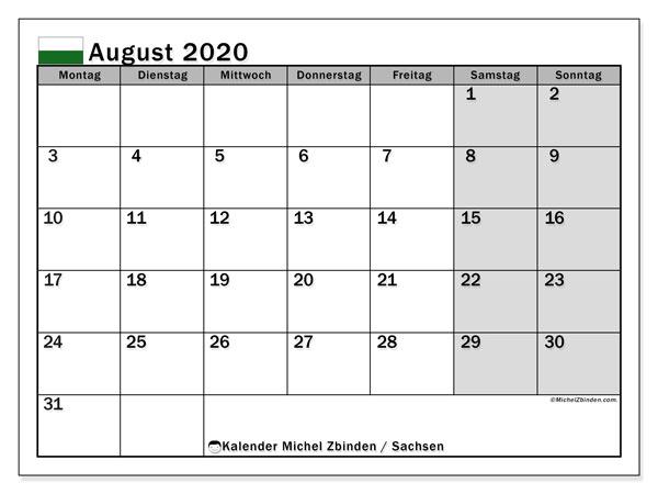Kalender August 2020, mit den Feiertagen in Sachsen. Kalender Feiertage frei zum ausdrucken.