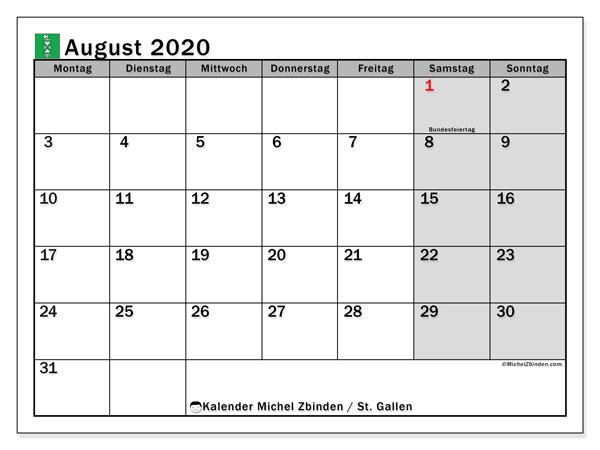 Kalender August 2020, mit den Feiertagen des Kantons St. Gallen. Kalender Feiertage frei zum ausdrucken.