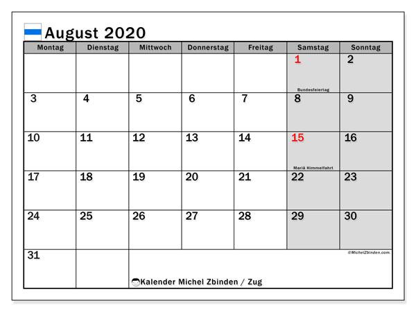 Kalender August 2020, mit den Feiertagen des Kantons Zug. Kalender Feiertage frei zum ausdrucken.