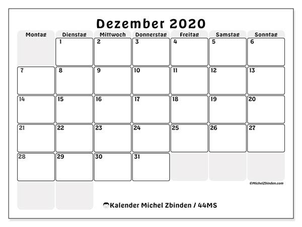 Kalender Dezember 2020, 44MS. Kostenlos ausdruckbare Kalender.