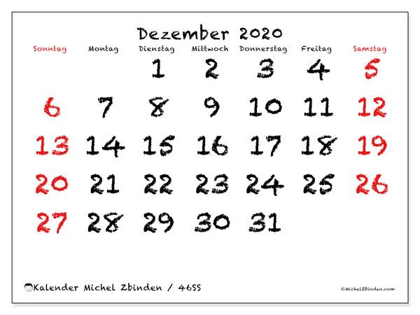 Kalender Dezember 2020, 46SS. Zeitplan zum kostenlosen ausdrucken.
