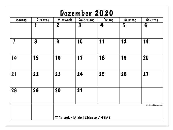Kalender Dezember 2020, 48MS. Kostenlos ausdruckbare Kalender.