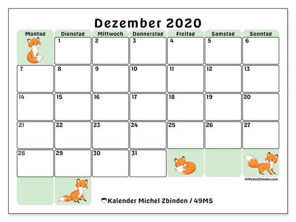 Kalender Dezember 2020, 49MS. Kostenloser Zeitplan zum ausdrucken.