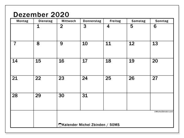 Kalender Dezember 2020, 50MS. Monatskalender zum kostenlosen ausdrucken.