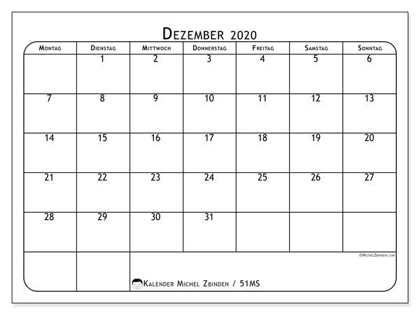 Kalender Dezember 2020, 51MS. Monatlicher Zeitplan zum kostenlosen ausdrucken.