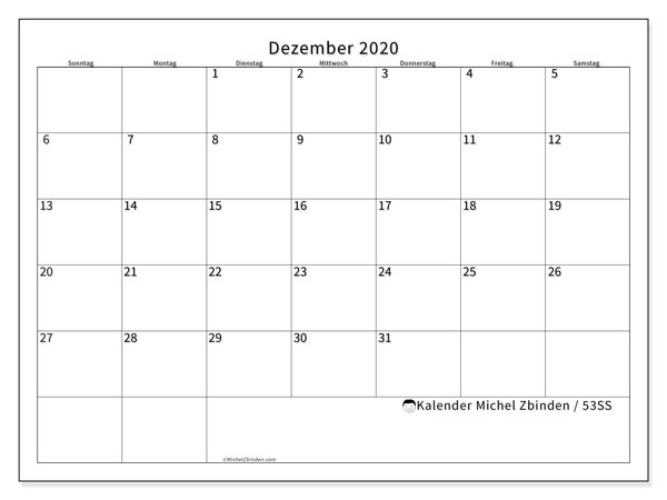 Kalender Dezember 2020, 53SS. Kalender zum kostenlosen ausdrucken.
