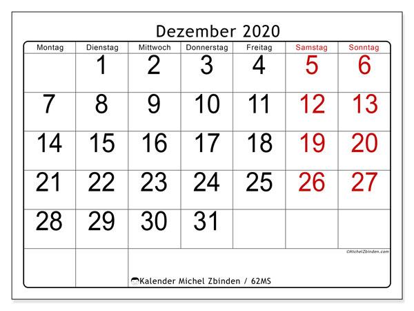 Kalender Dezember 2020, 62MS. Kostenloser Kalender zum ausdrucken.