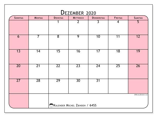 Kalender Dezember 2020, 64SS. Kostenloser Planer zum ausdrucken.