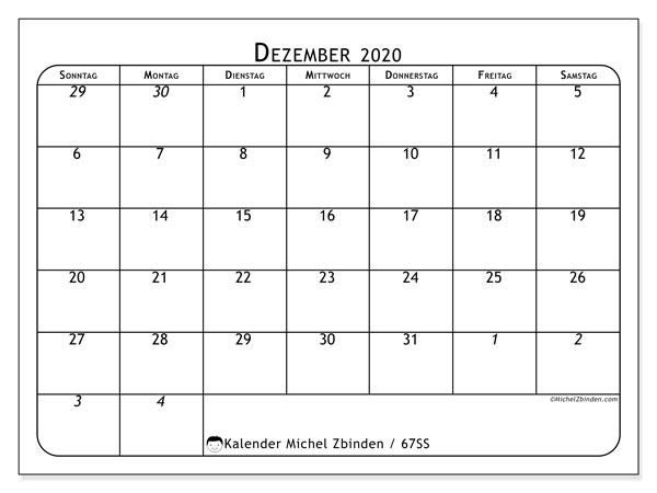 Kalender Dezember 2020, 67SS. Monatskalender zum kostenlosen ausdrucken.
