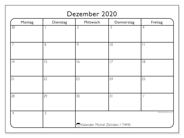 Kalender Dezember 2020, 74MS. Kostenloser Kalender zum ausdrucken.