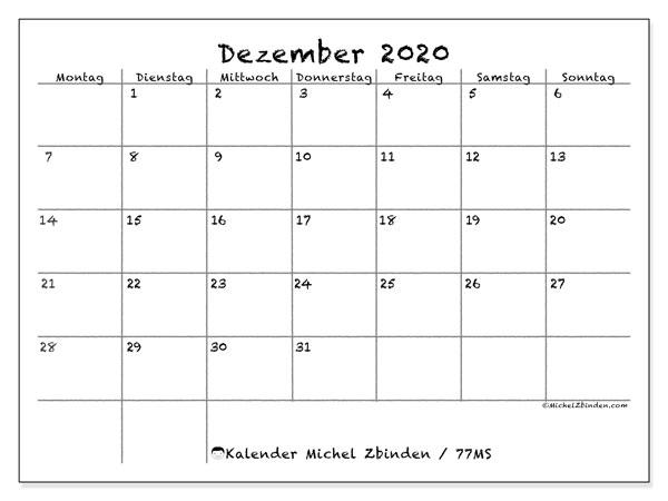 Kalender Dezember 2020, 77MS. Kalender für den Monat zum kostenlosen ausdrucken.