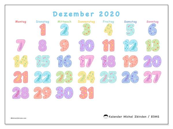 Kalender Dezember 2020, 83MS. Monatlicher Zeitplan zum kostenlosen ausdrucken.