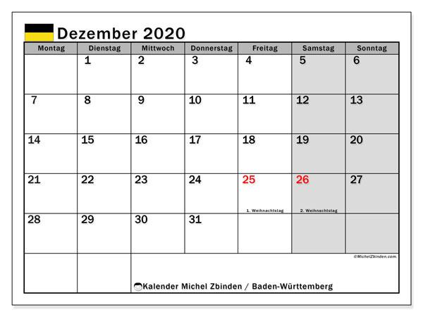 Kalender Dezember 2020, mit den Feiertagen in Baden-Württemberg. Kalender Feiertage frei zum ausdrucken.