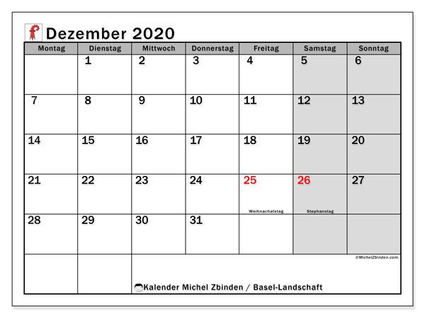 Kalender Dezember 2020, mit den Feiertagen des Kantons Basel Landschaft. Kalender Feiertage frei zum ausdrucken.