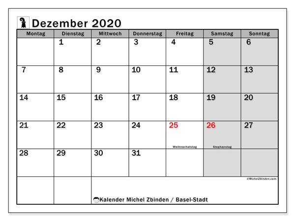 Kalender Dezember 2020, mit den Feiertagen des Kantons Basel Stadt. Kalender mit Feiertagen zum kostenlosen ausdrucken.