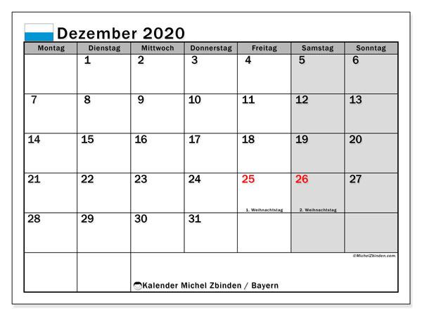 Kalender Dezember 2020, mit den Feiertagen von Bayern. Kalender Feiertage frei zum ausdrucken.